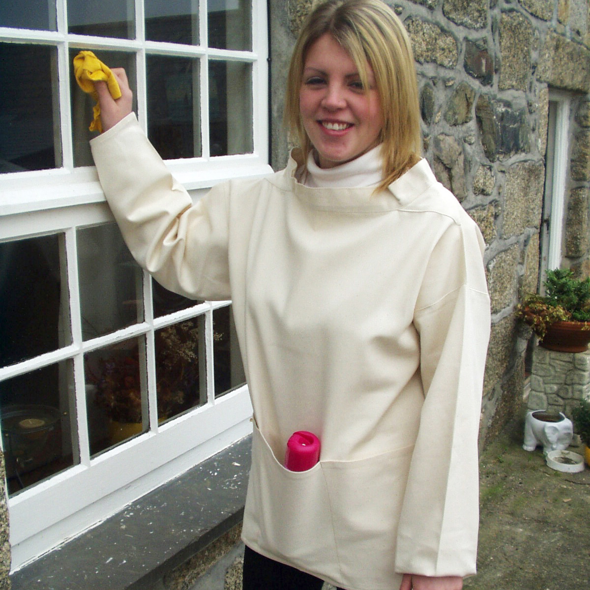 Working smock traditional cornish triple-pocket-smock-naturaltriple pocket smock